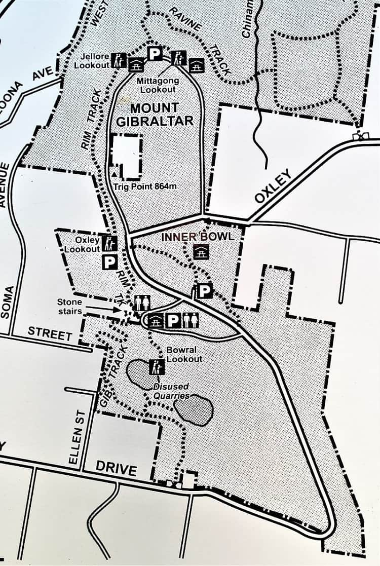 Map of Bowral Lookout up Mount Gibraltar.