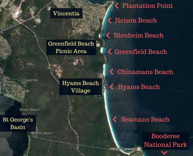Australia Map Jervis Bay.Jervis Bay Beaches Huskisson To Hyams The White Sands Walk