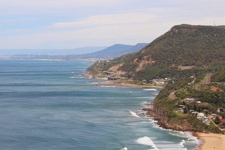 The Sea Cliff Bridge and Wollongong from Bald Hill lookout