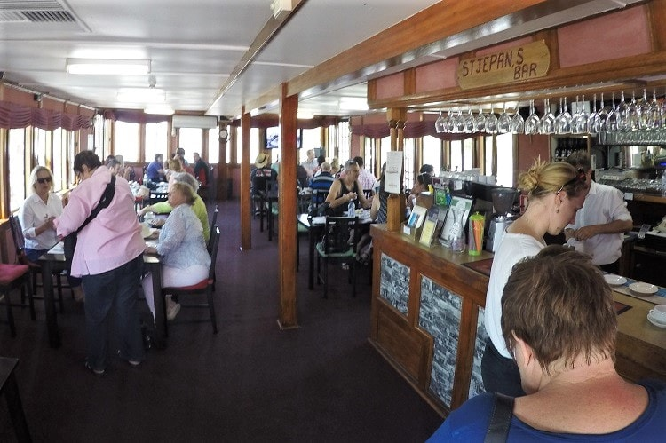 Inside the Captain Proud Murray River paddle boat.