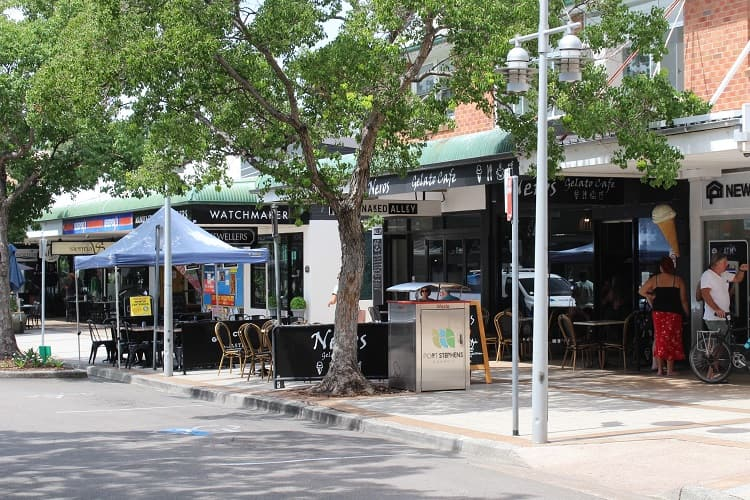 Nelson Bay shops and cafes in Port Stephens.