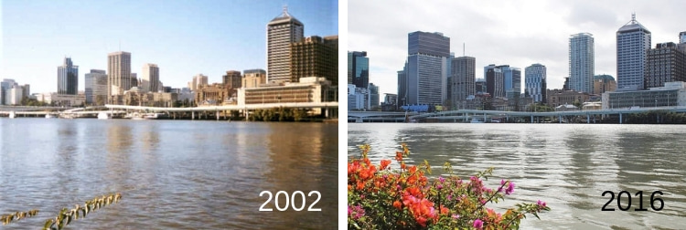How the Brisbane skyline has changed since 2002.