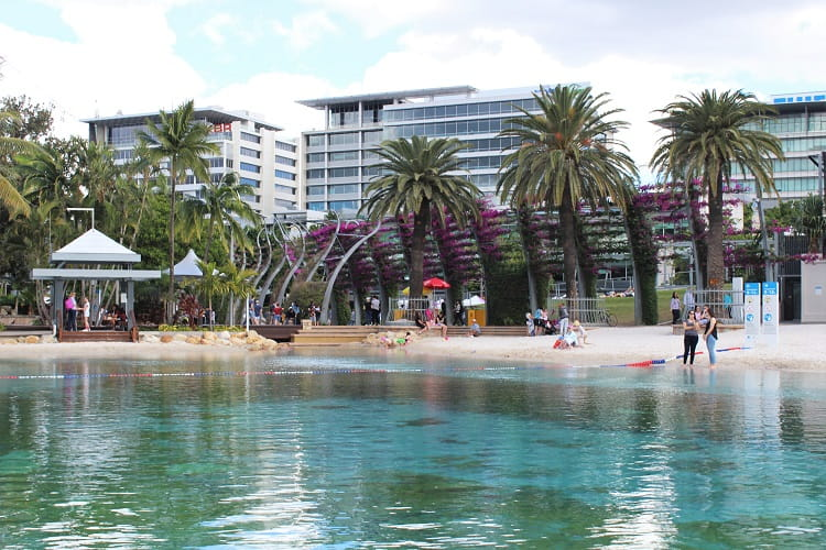 Learn about Brisbane attractions: South Bank beach and lagoon.