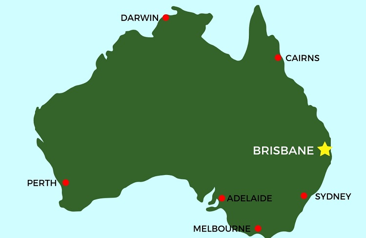 Map of Australia for those thinking of moving to Brisbane.