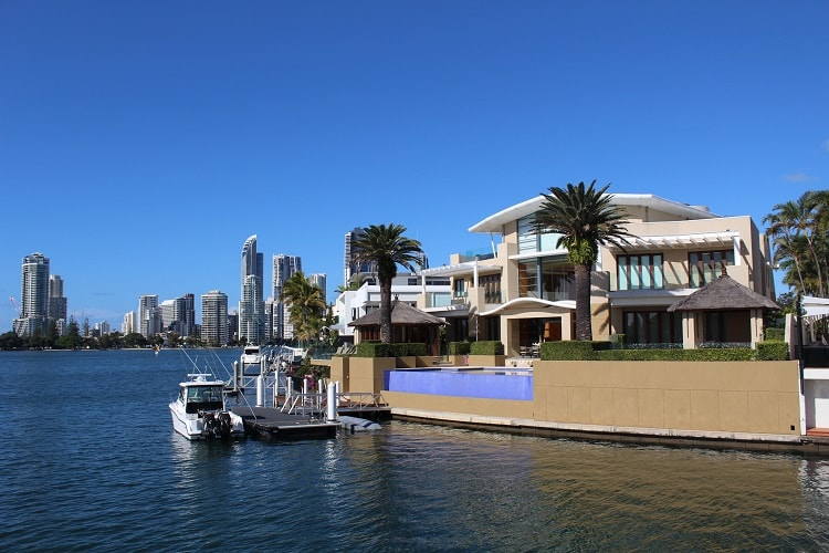 Gold Coast mansions on a waterways cruise.