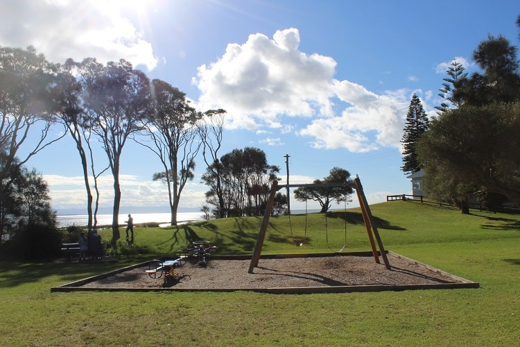 Currarong park and playground by Zac's restaurant and fish and chip shop.