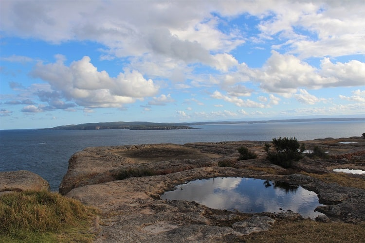 Cliff views from Point Perpendicular Lighthouse on the Beecroft Peninsula.