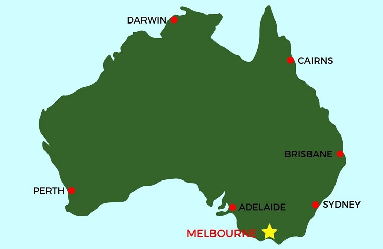 Map of Australia - living in Melbourne.