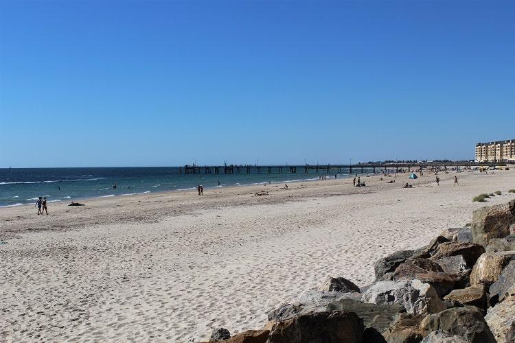 Popular Glenelg Beach in Adelaide.