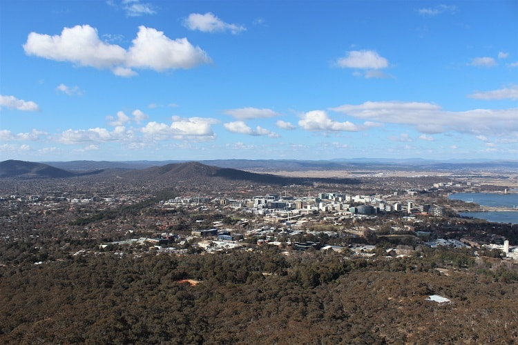 City view from Telstra Tower, Australia.
