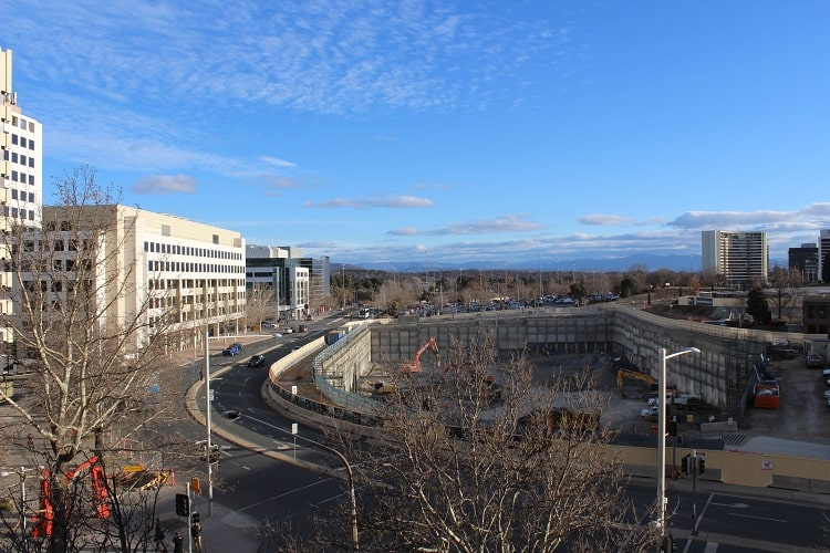 Canberra city centre in winter.