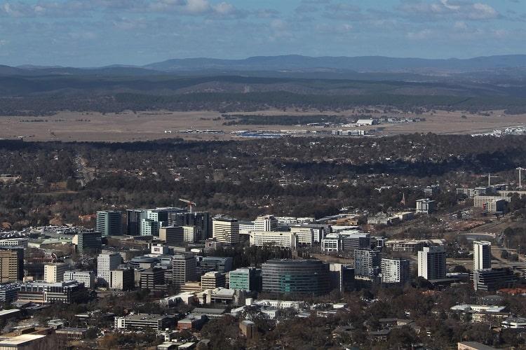 Birdseye view of Canberra, Australia's capital city.
