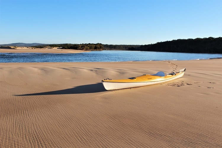A kayak stranded on North Durras Beach in Murramarang National Park, New South Wales.