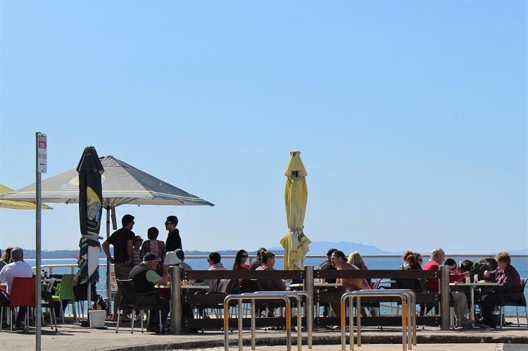 Beachside dining in Forster.