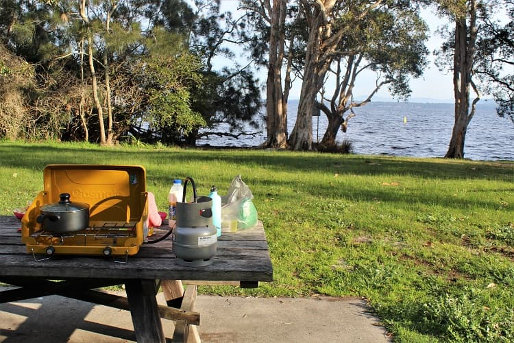 Camping in Myall Lakes NSW.