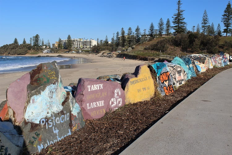 A walk along the painted Port Macquarie breakwall: one of many things to do in Port Macquarie.
