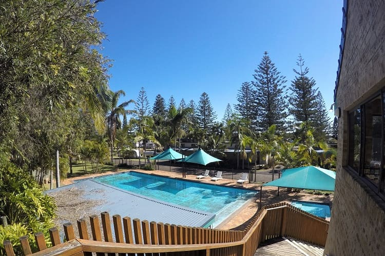 Resort-style swimming pool at NRMA Port Macquarie Breakwall Holiday Park.