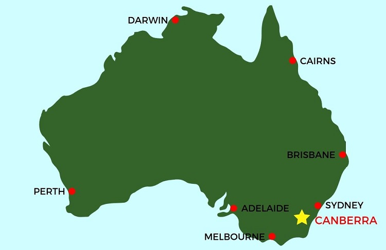 Where is Canberra, Australia map.
