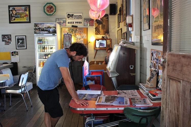Inside retro cafe Bellingen Gelato.