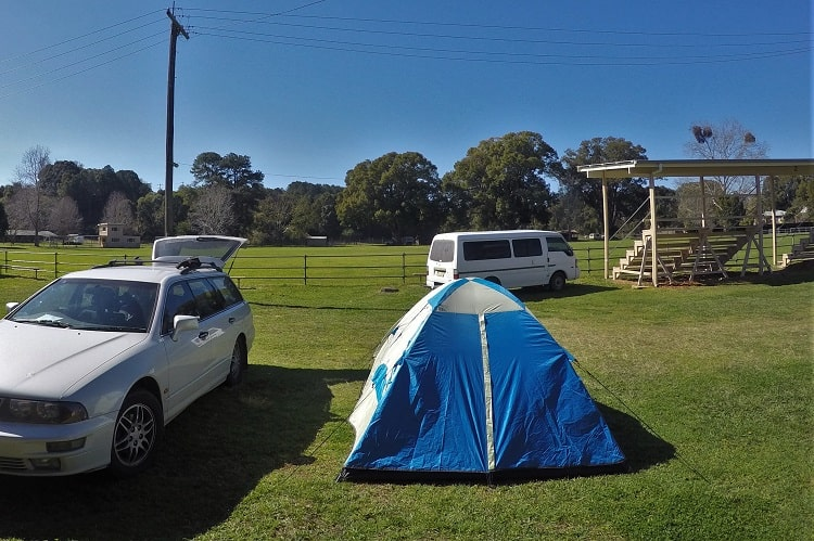Camping at Bellingen Showground.