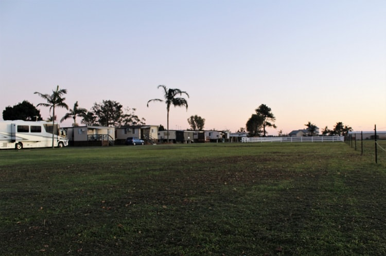 Fishing Haven Holiday Park in Yamba at sunset.