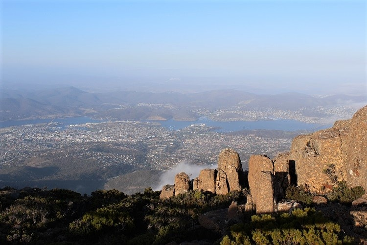 Beautiful view of Hobart from Mount Wellington.
