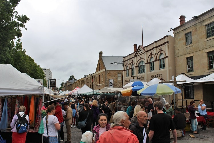 Salamanca markets, one of many cultural things to do in Hobart.
