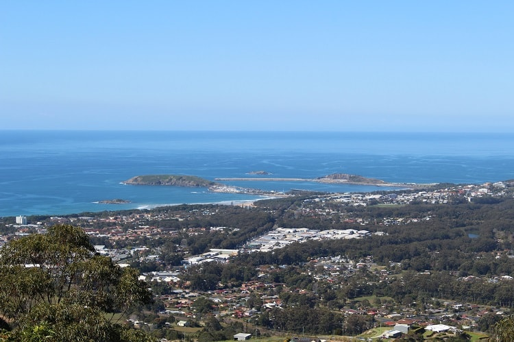 View of Coffs Harbour from Sealy lookout.