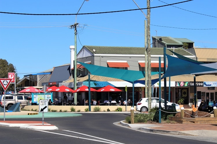 Yamba attractions: town centre shops.