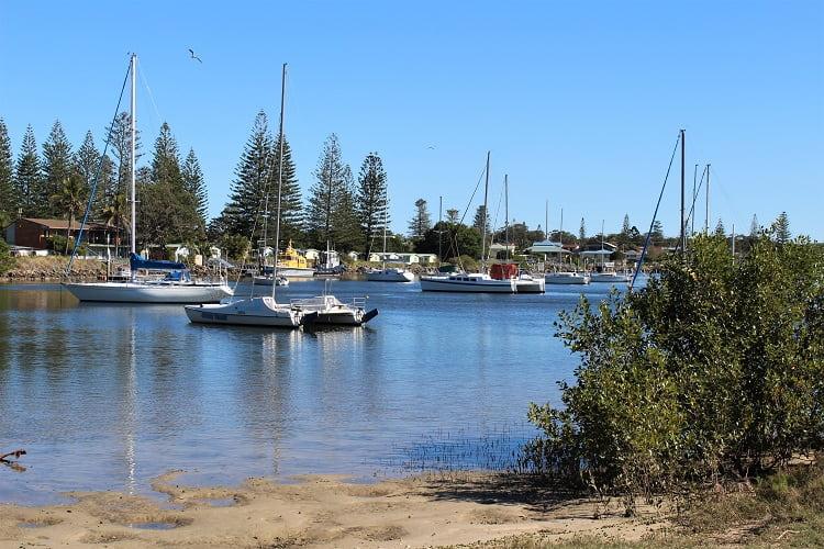 Boats at beautiful Hickey Island in Yamba NSW.