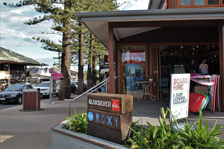 Surf shops in Byron Bay town centre.