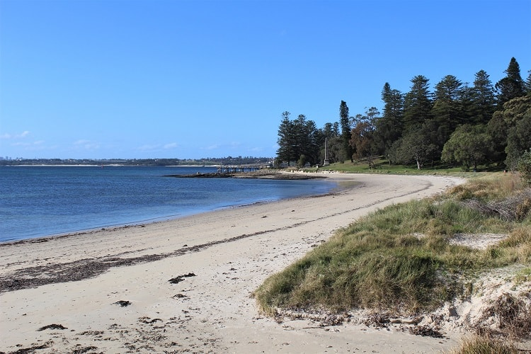 Kamay Botany Bay National Park: beach views in Kurnell on the Monument Walking Track to Captain Cook's landing place.