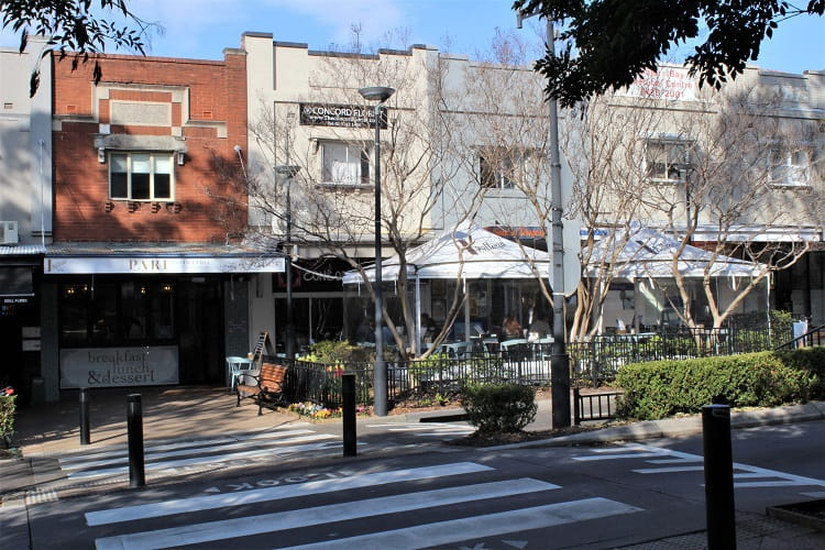 Restaurants and cafes on Majors Bay Road, Concord - one of the best Sydney suburbs for families.