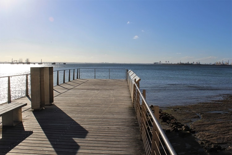Boardwalk in Kurnell with historical information about Captain Cook's landing place.
