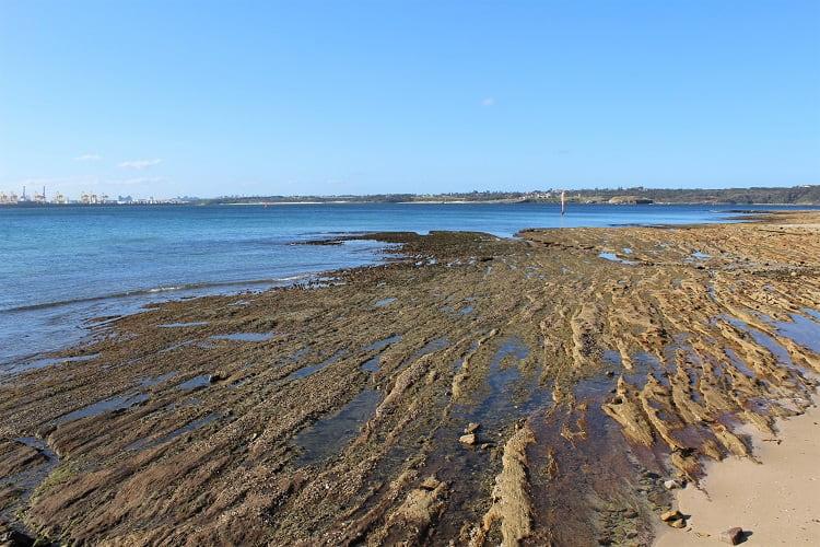 Rocky coastal scenery in Kurnell near Captain Cook's landing place in Sydney.