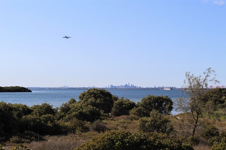 Views across Botany Bay to Sydney Airport from Towra Point Reserve