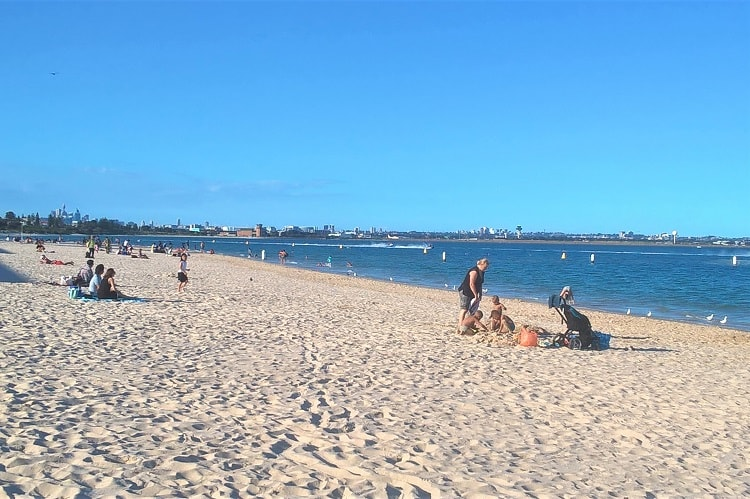 Sunny day at Brighton-Le-Sands Beach in south Sydney.