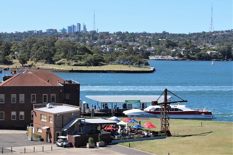 A Sydney ferry pulling in at Cockatoo Island from Circular Quay.