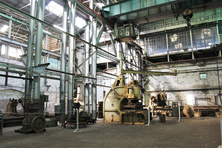 Inside the industrial workshops from when Cockatoo Island was a shipyard.