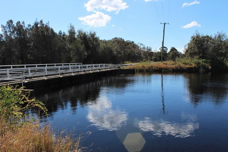 Bridge over the Belmore River to Loftus Road in North Coast NSW.