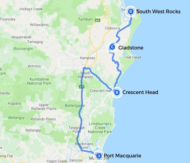 Mid North Coast NSW map showing drive stops of Port Macquarie, Crescent Head, Gladstone and South West Head.