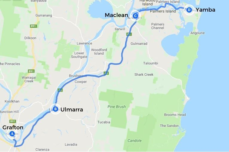 Northern Rivers NSW map: driving route from Grafton to Yamba, with drive stops at Ulmarra and Maclean.