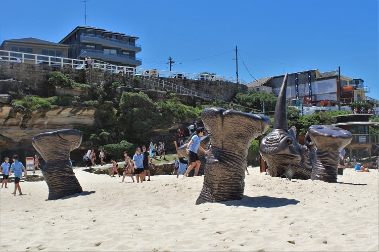 Huge rhinoceros at Tamarama Beach at the 2016 Sculptures by the Sea in Sydney!