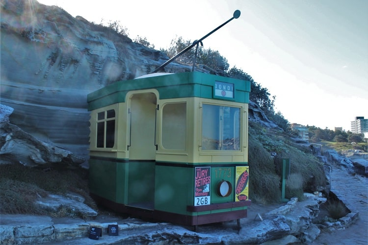 An old tram heading to Bondi at the Sculptures by the Sea exhinition, Sydney.