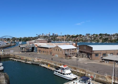 Cockatoo Island Sydney: view of Sydney Harbour and the docks from the convict precinct.