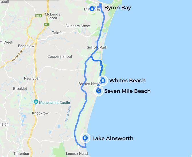 Byron Bay region map Australia.