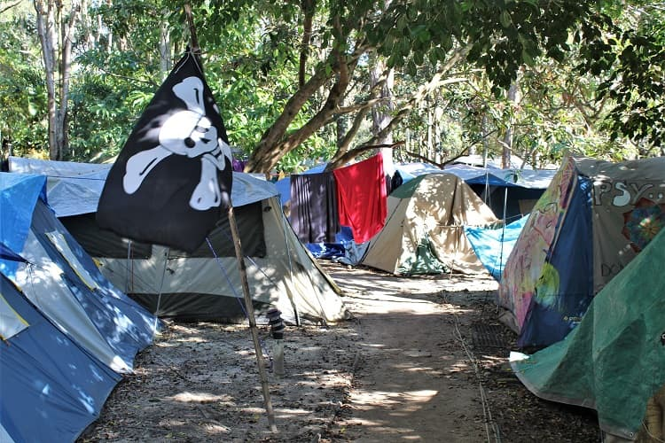 "Camping are ""The Jungle"" at the Arts Factory Lodge accommodation in Byron Bay, Australia."