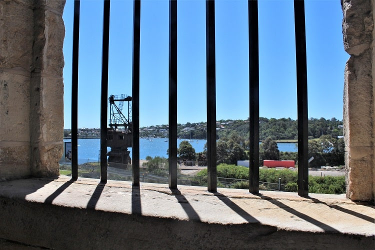 Cockatoo Island convict barracks looking out onto Sydney Harbour.