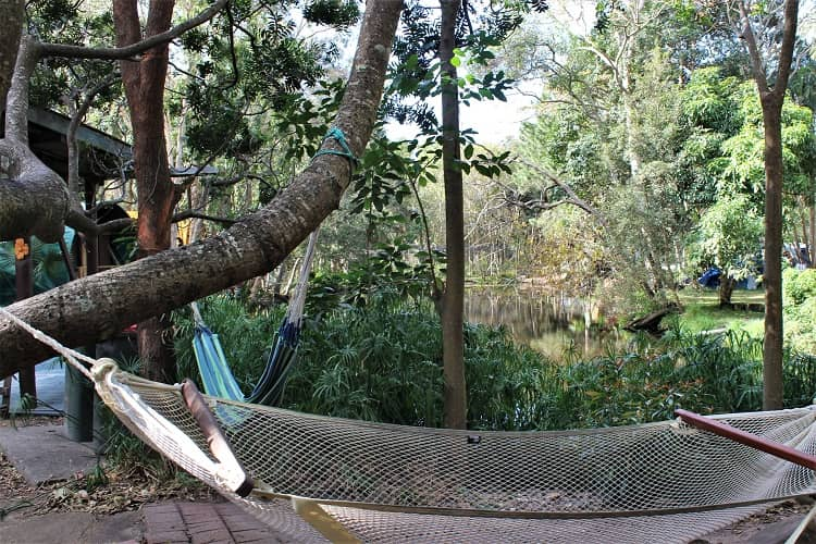A hammock by the lake at Byron Bay's famous Arts Factory Lodge, where The Inbetweeners 2 movie was filmed.