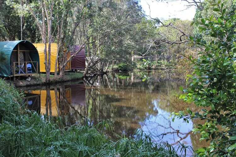 Lakeside accommodation in Byron Bay at the Arts Factory Lodge.